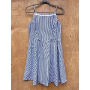 Old Navy fit and flare blue white striped summer